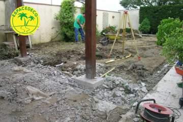 1-Evolution d'un chantier de mise en place de terrase en bois par la société Espacedéco.